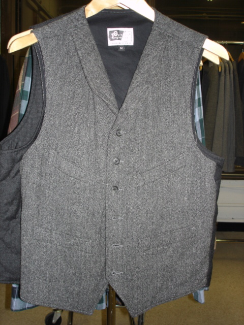 Engineered Garments Shawl Collar Vest in Tweed