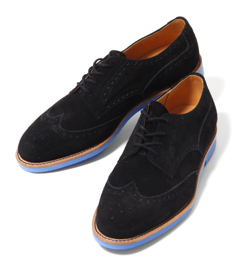 ts(s) Black Suede Wingtips with a Blue Brick Sole