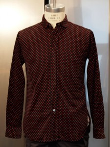 Engineered Garments Red Polka Dot Round Collar Shirt