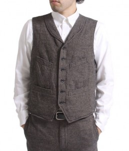 Engineered Garments Shawl Collar Vest Wool Denim